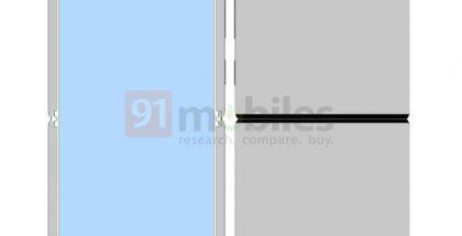 Xiaomin taittuvanäyttöinen simpukkapuhelin sen mallisuojahakemuksessa.