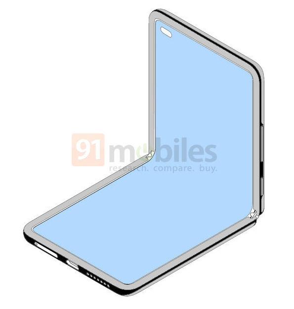 Xiaomin taittuvanäyttöistä simpukkapuhelimen designia esitellään myös 90 asteen kulmaan avatussa muodossa.