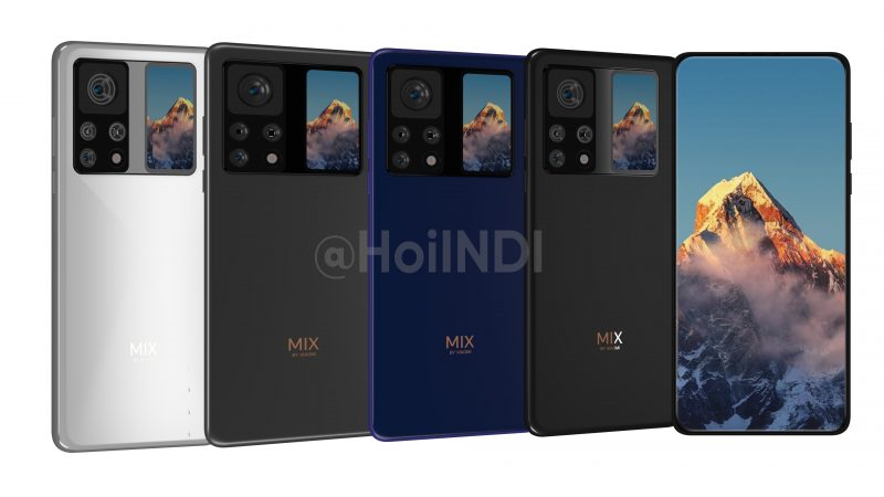 Xiaomin näytönalaisella etukameralla varustetussa Mi MIX -sarjan älypuhelimessa voidaan nähdä myös takanäyttö. Mallinnoskuva: HoilINDI.