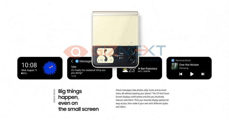 Galaxy Z Flip3:ssa on suurempi kansinäyttö, joka tarjoaa monipuolisia tietoja. Kuva: GizNext.