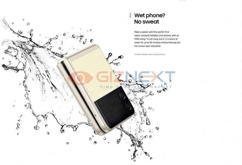 Myös Galaxy Z Flip3 kestää vettä IPX8-luokitellusti. Kuva: GizNext.