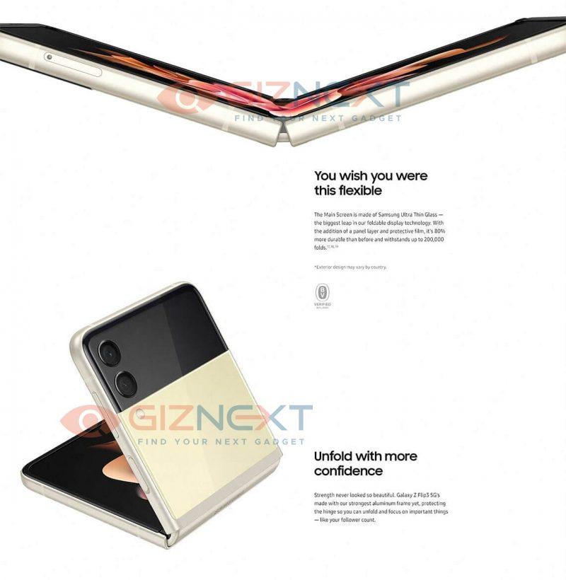 Samsung korostaa uusien taittuvanäyttöisten älypuhelintensa, Galaxy Z Flip3:n ja Galaxy Z Fold3:n kestävyyttä usein eri tavoin. Kuva: GizNext.