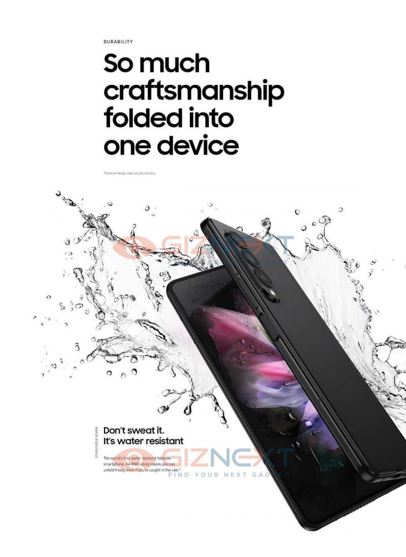 Galaxy Z Fold3 on vedenkestävä IPX8-luokitellusti. Kuva: GizNext.
