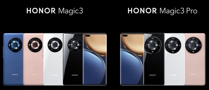 Honor Magic3:n ja Magic3 Pron värivaihtoehdot.
