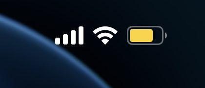 Keltainen akkukuvake iPhonessa kertoo alhaisen virran tilasta.