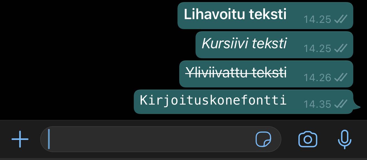 WhatsApp tarjoaa erilaisia tekstimuotoiluja.