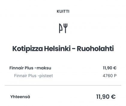 Esimerkiksi tässä maksussa 400 Finnair Plus -pistettä on vastannut 1 euroa.