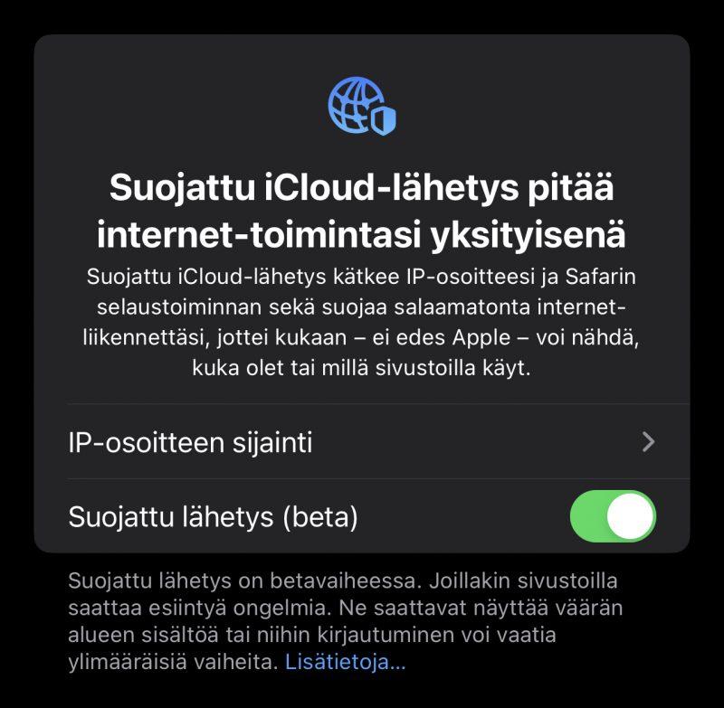 Näin Apple kertoo nyt iOS 15 beta 7:ssä Suojatusta iCloud-lähetyksestä.