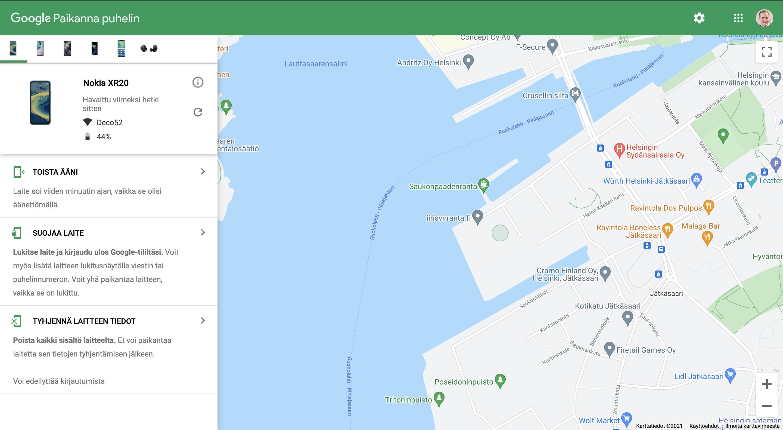 Googlen Paikanna puhelin -verkkopalvelu.