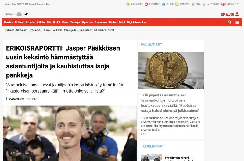 Sähköpostista avautuva linkki vie esimerkiksi Iltalehteä muistuttavalle verkkosivulle, josta löytyy pitkä sepustus rahantekomahdollisuudesta Bitcoin Eralla. Kaikki sisältö on tietenkin täyttä hölynpölyä.