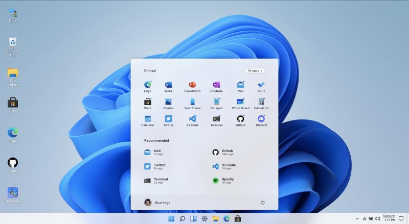 Kuvankaappaus Win 11 in React -verkkosivulta, joka mahdollistaa Windows 11:n uuteen ilmeeseen tutustumisen.