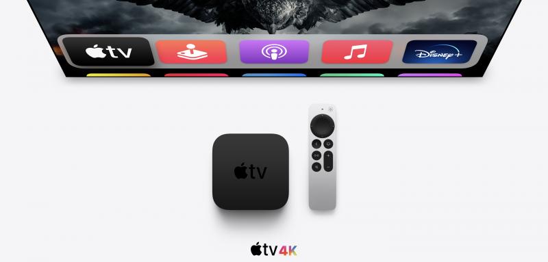 Apple TV 4K ja uusi Apple TV Remote -kaukosäädin.