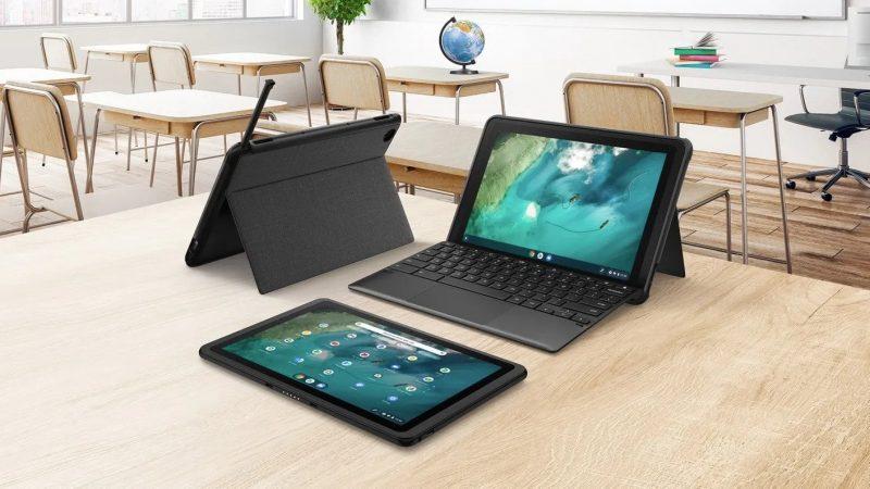 Asus Chromebook Detachable CZ1. Näppäimistökuori tarjoaa myös säilytyspaikan stylus-kynälle ja seisontatuen.