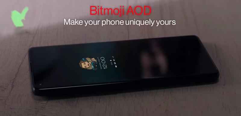 OnePlussan aiemmin julkaisema kuva Bitmoji AOD:stä.