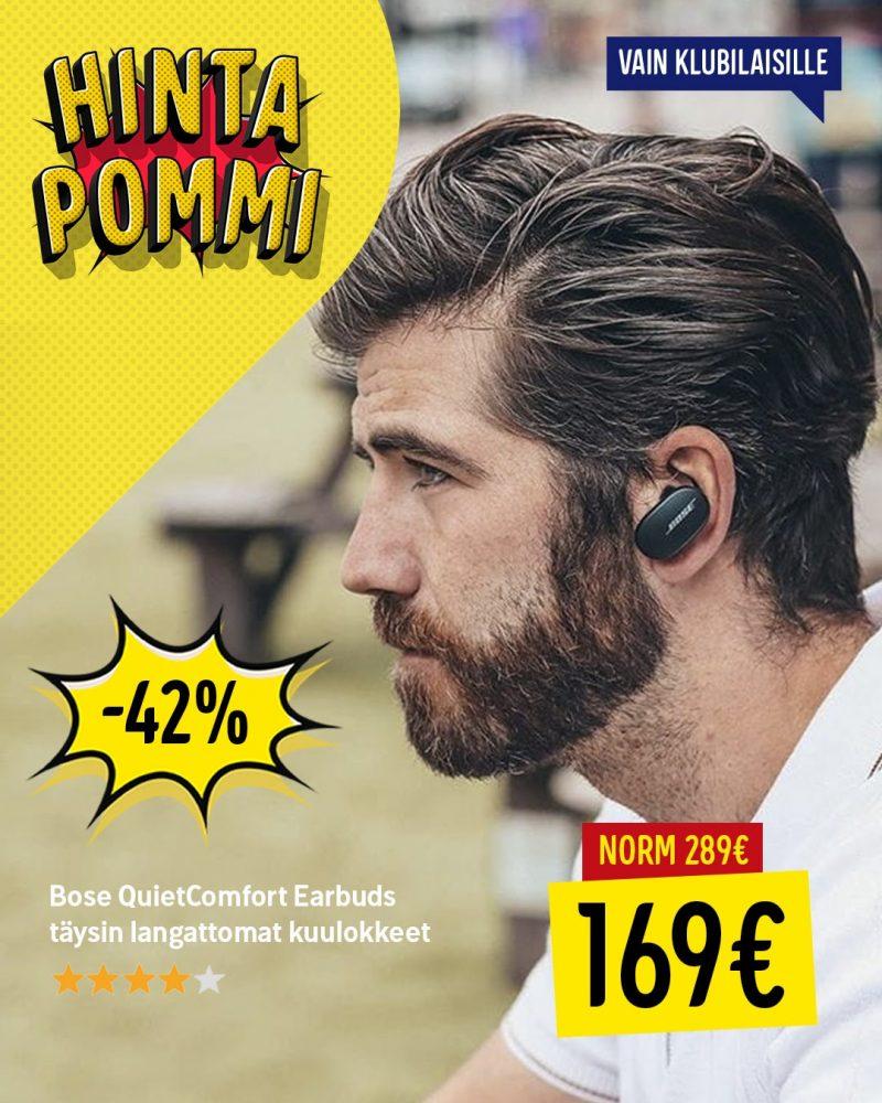 Bose QuietComfort Earbuds -kuulokkeiden hinta Gigantin tarjouksessa on 169 euroa.