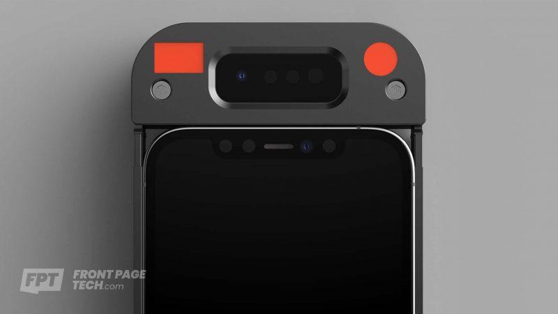 Luotu mallinnos siitä, millaisella ratkaisulla Applen väitetään nyt testaavan parannettua Face ID:tä. Kuva: Front Page Tech.