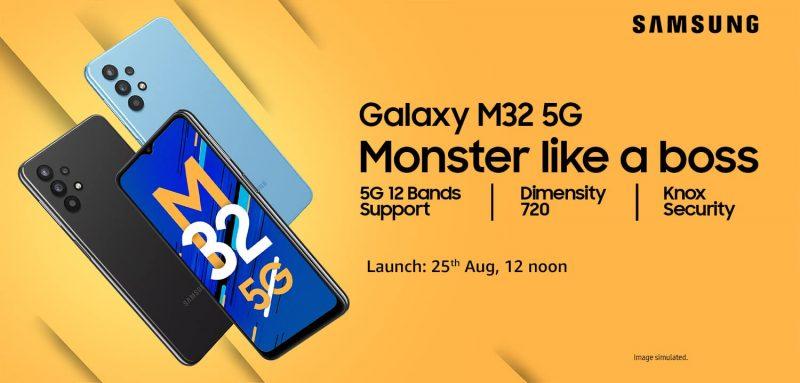 Galaxy M32 5G:n julkistus tapahtuu 25. elokuuta.