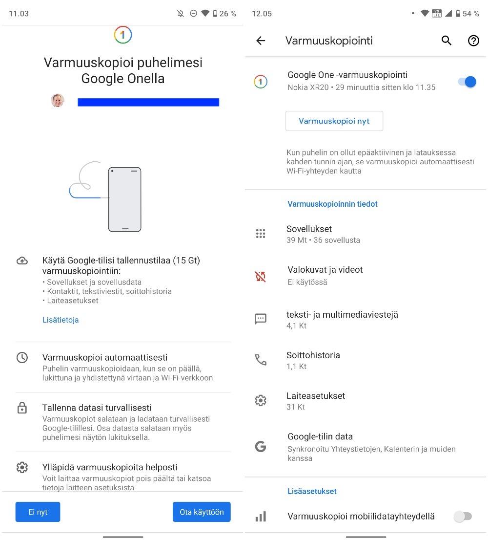 Google One -varmuuskopiointi Android-laitteiden Asetuksissa on nyt laajasti saatavilla.