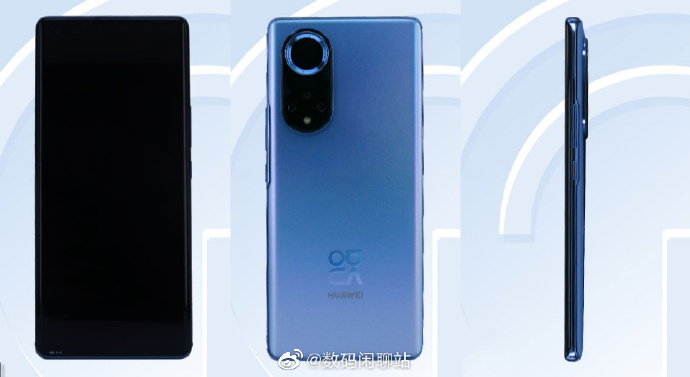 Huawei Nova 9 -sarjalaiseksi odotettu älypuhelin Kiinan TENAA-tietokannan kuvissa.
