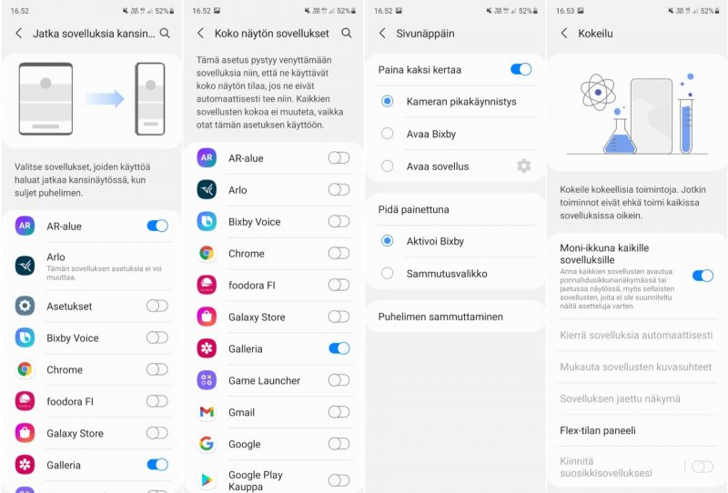 Samsung Galaxy Z Fold3:lle luotujen ominaisuuksien asetuksia.