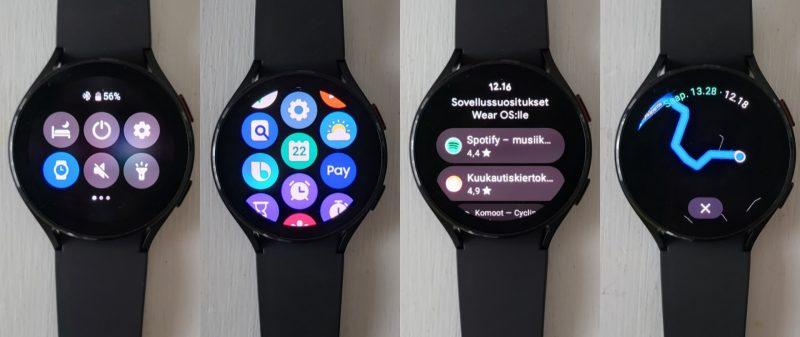 One UI Watch -käyttöliittymän näkymiä.