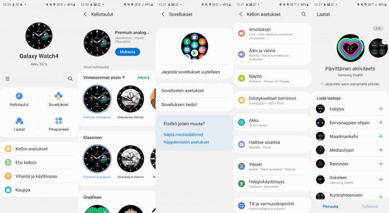 Samsung Wearable-sovelluksen näkymiä ja asetuksia.