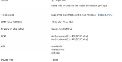 Lenovo Tab P12 Pro Google Play Console -tietokannassa.