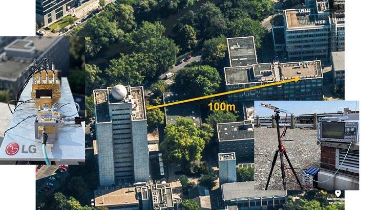 Tiedonsiirto korkealla taajuudella tapahtui 100 metrin välimatkalla.