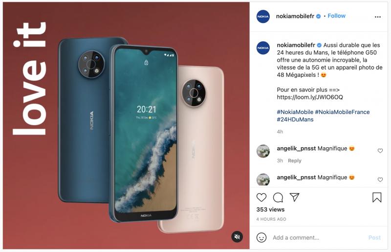 Ranskan Nokia Mobile -Instagram-tilillä nähty julkaisu