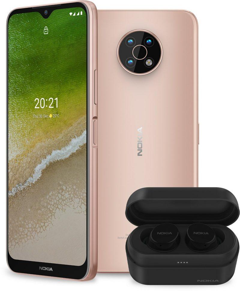 Vaalea Nokia G50, Midnight Sun, yhdessä Bluetooth-kuulokkeiden kanssa. Kuva: WinFuture.de.