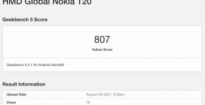 Nokia T20 GeekBenchissä.