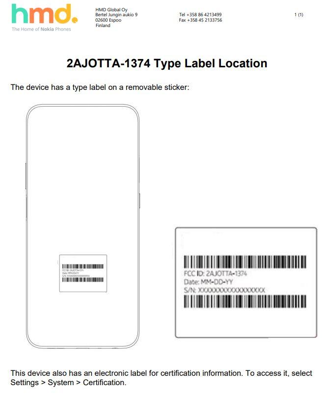 Nokia TA-1374:n ääriviivat paljastava piirroskuva FCC-tietokannan asiakirjassa.