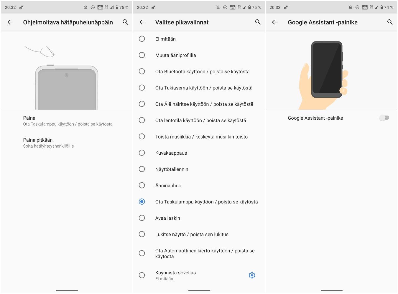 Yläpään painikkeelle voi valita toiminnot laajasta valikoimasta vaihtoehtoja. Vasemman kyljen Google Assistant -painike sen sijaan on joko Assistant-käytössä tai ei käytössä ollenkaan.