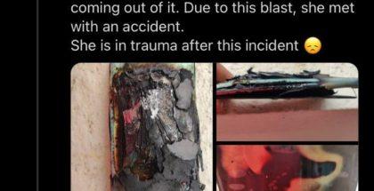 Tässä aiempi räjähdystapaus. Ankur Sharman sittemmin poistama twiitti hänen vaimonsa räjähtäneestä OnePlus Nord 2 5G -älypuhelimesta.