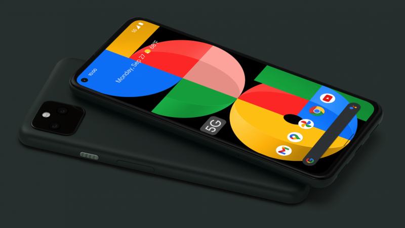 Pixel 5a:sta on vain yksi värivaihtoehto, Mostly Black, jossa on vihreää vivahdetta.