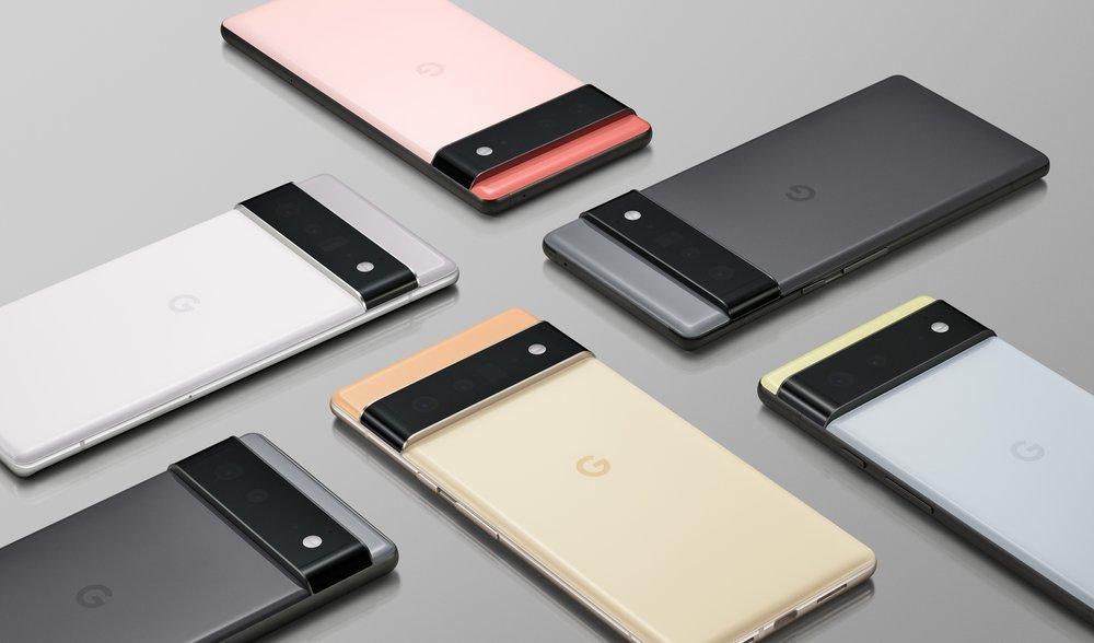 Pixel 6 ja Pixel 6 Pro eri väreissä aiemmin julkaistussa kuvassa.