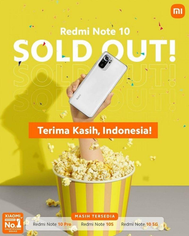 Redmi Note 10 on Indonesiassa loppuunmyyty.