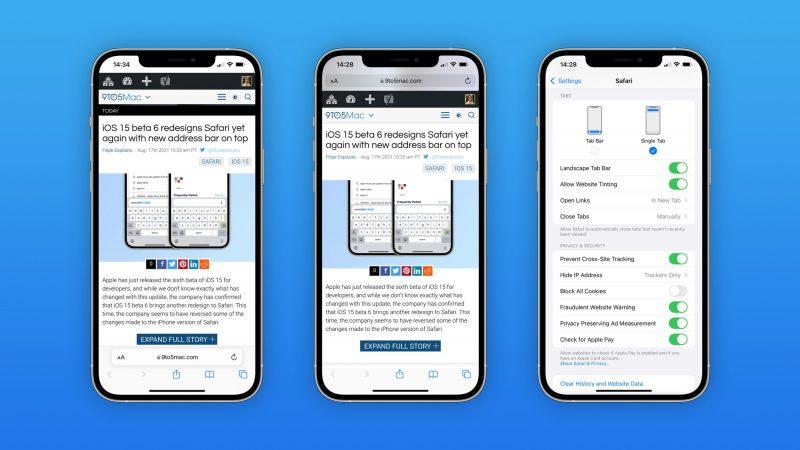 iOS 15 beta 6:ssa Safari tarjoaa nyt kaksi vaihtoehtoa: vasemmassa kuvassa iOS 15:ssä alun perin esitellyllä tavalla osoitepalkki lähellä alareunaa ja keskimmäisesssä iOS 15:tä edeltävien versioiden tapaan yläreunassa. Asetuksissa on tältä osin tarjolla valinnanmahdollisuus (joko uusi Tab Bar tai vanha Single Tab -näkymä). Kuva: 9to5Mac.