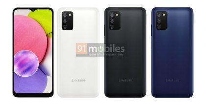 Samsung Galaxy A03s:n eri värivaihtoehdot. Kuva: 91mobiles.