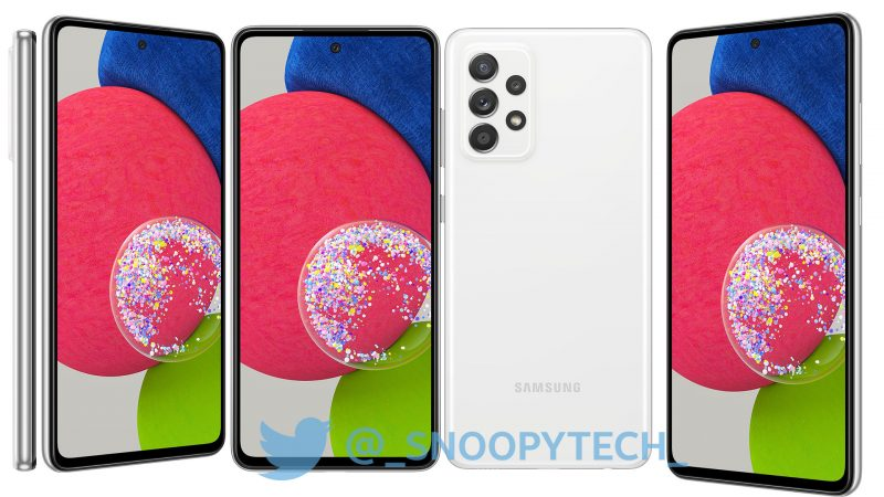 Samsung Galaxy A52s 5G, Awesome White. Kuva: _snoopytech_ / Twitter.