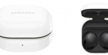 Samsung Galaxy Buds2 -kuulokkeiden kotelo on päältä valkoinen ja sisältä kuulokkeiden värin mukainen. Kuvat: WInFuture.de.