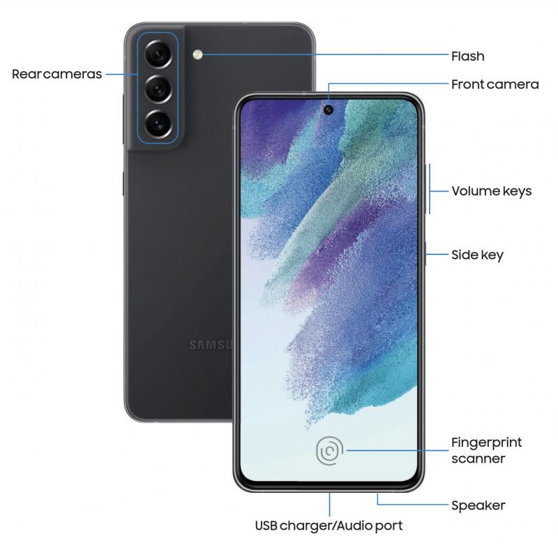 Kuva Galaxy S21 FE 5G:n ohjekirjasta kertoo puhelimen eri painikkeista ja yksityiskohdista.