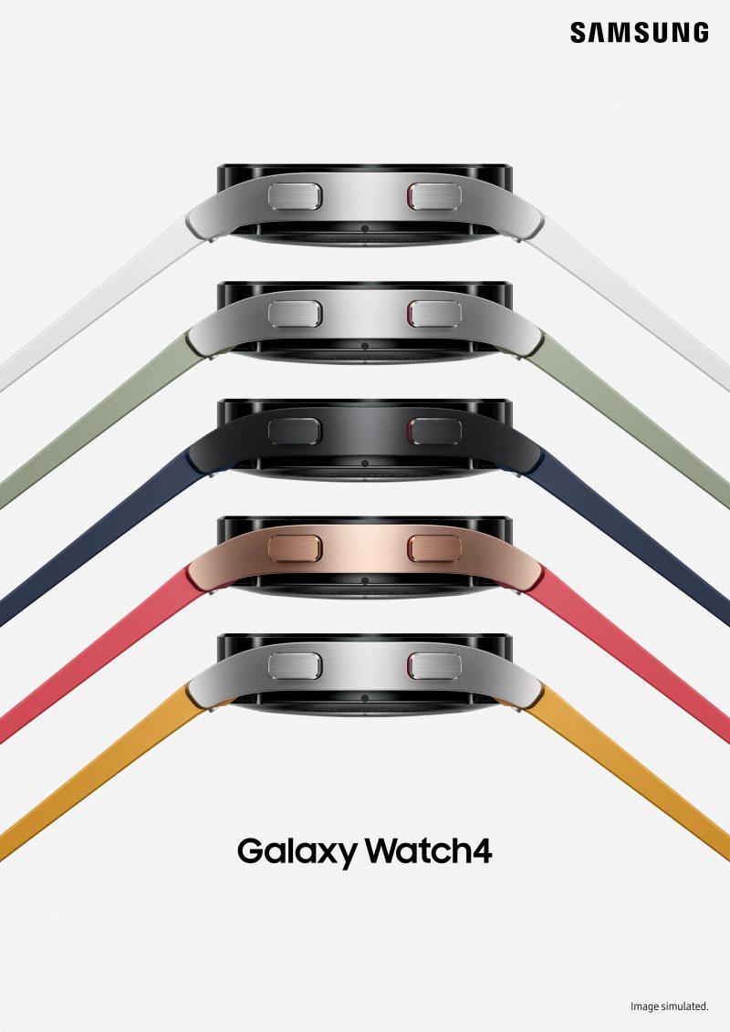 Eri värivaihtoehtoja Galaxy Watch4:stä.
