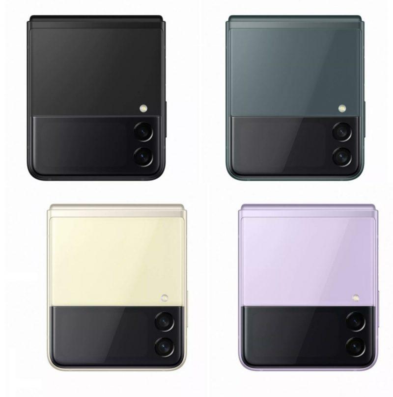 Galaxy Z Flip3 5G:n neljä eri värivaihtoehtoa. Kuva: Evan Blass.
