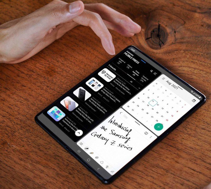 """Galaxy Z Fold3 5G:n näytön voi jakaa kolmelle sovellukselle, joiden päälle saa avattua vielä """"kelluvia"""" sovellusikkunoita."""