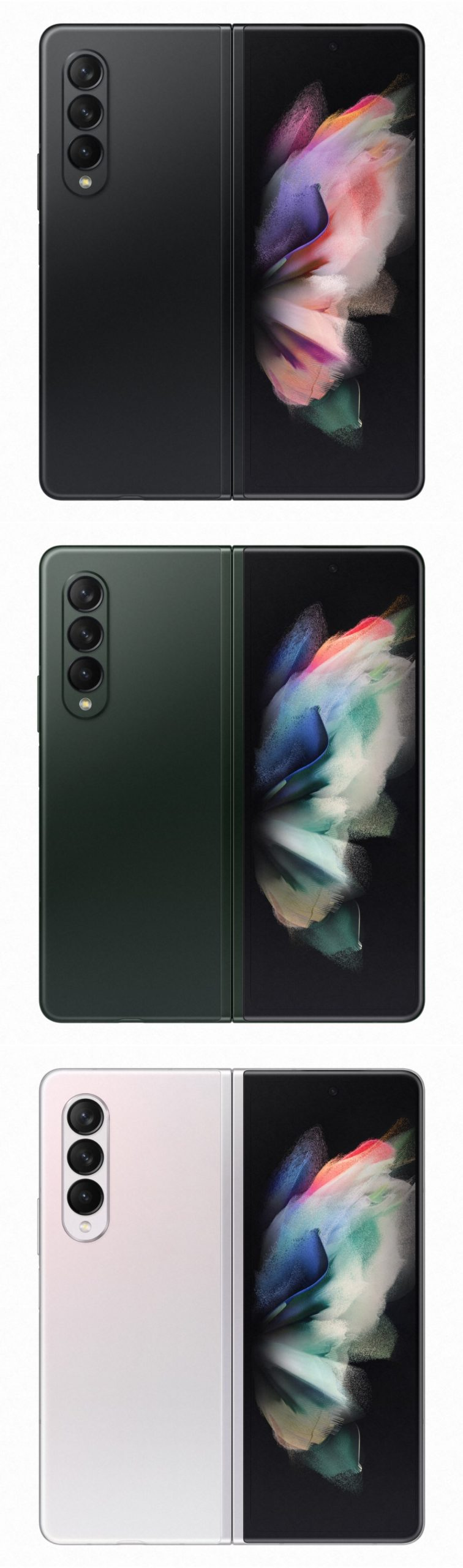 Galaxy Z Fold3 5G avattuna eri väreissä.