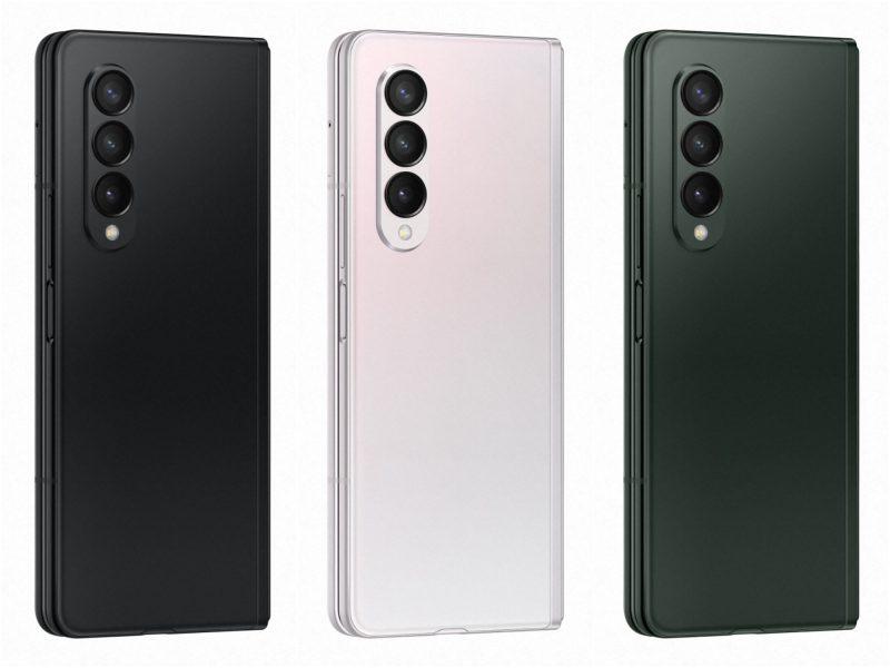 Galaxy Z Fold3 5G:n kolme värivaihtoehtoa.