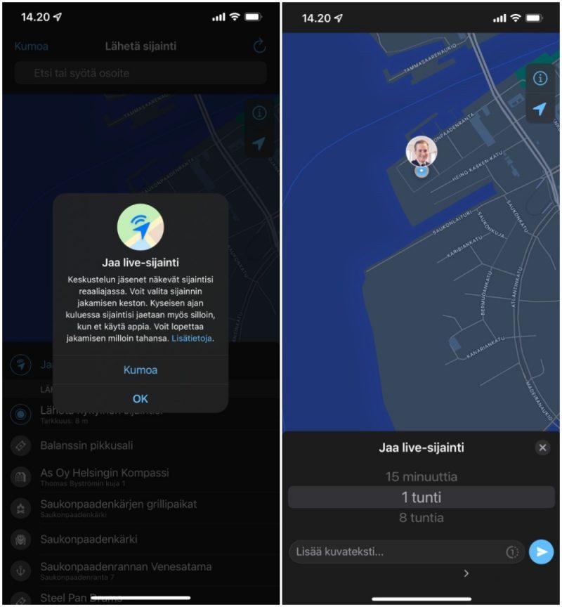 WhatsAppin live-sijainnin jakaminen iPhonessa.