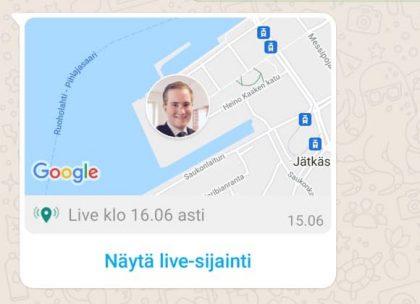 Näin WhatsAppissa jaettu live-sijainti näkyy osana keskustelua. Painamalla karttanäkymä avautuu koko ruudulle.