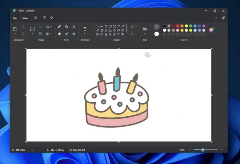 Windows 11:n Paint tummalla teemalla.